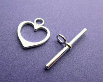 New 14.5mm Ring with 26mm Bar 925 Sterling Silver Heart Shaped Toggle Clasp 1 Set
