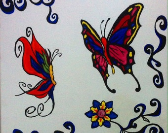 Acrylic butterflies and flowers canvas