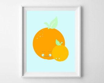 Nursery Prints, Nursery Wall Prints, Nursery Wall Art, Orange, Fruit, Nursery Decor, Nursery Printable, Baby Wall Art, Nursery illustration