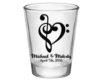 200x Custom Wedding Favor Wedding Shot Glasses | 1.75 oz Clear Glass | Love Melody (1A) Music Note | Choose Imprint Color | READ DESCRIPTION