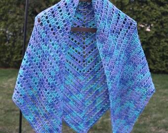 Blue/teal/purple crochet shawl
