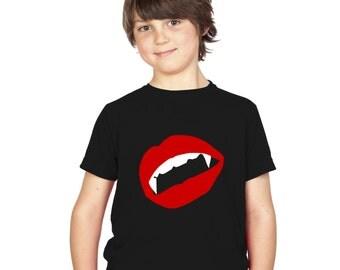 Kids Vampire Fangs & Lips Glow In The Dark T-Shirt Black Boys / Girls Childrens