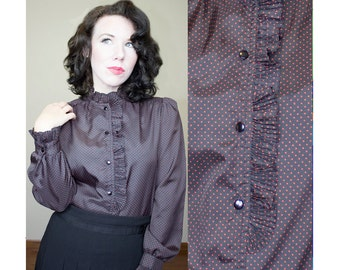 Vintage 1980's 80's Polka Dot Ruffle Button Down Blouse Hipster