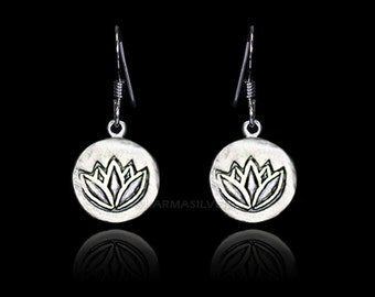 Sterling Silver Lotus Earrings - Lotus Medallion Yoga Earrings