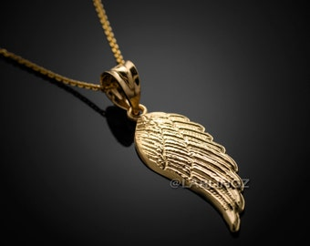 14K Gold Angel Wing Pendant Necklace (yellow, white, rose gold)