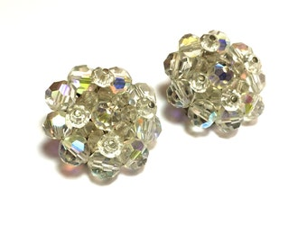 50s AB Crystal Glass Bead Cluster Earrings