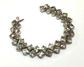40s 50s Rhinestone Bracelet Square Cut