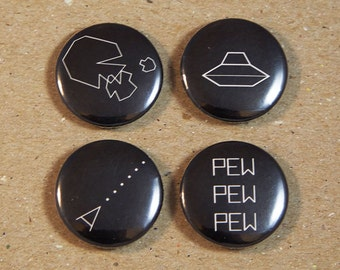 Astroids 1970s Video Game 1 Inch Button set