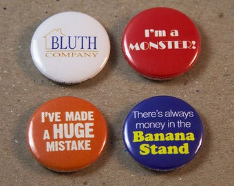 Arrested Development Bluth Company Banana Stand Fan Art 4 - 1 Inch Button Set