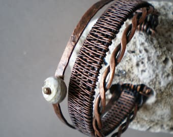 Wire wrapped copper bracelet , Handmade copper wire bracelet, Unique wrapped bracelet , Cuff Bracelets,
