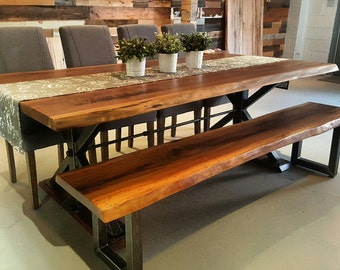 Inudustrial Steel X-Base Live Edge Walnut Dining Table