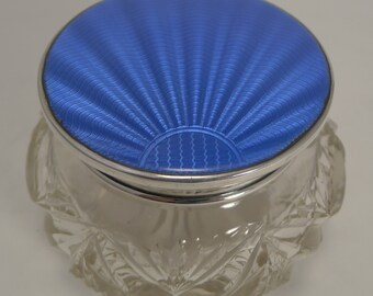 Stunning Art Deco Cut Crystal and Guilloche Enamel Powder Box / Bowl