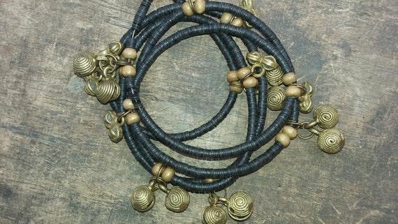 VULCAN West African waist beads, vinyl discs, vintage brass charms and bells, Fair Trade