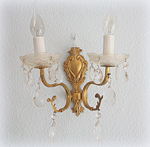 Beautiful Vintage  Brass Wall Light with Crystal Faceted Beads and Teardrops, Wall Chandelier with Twin Arms