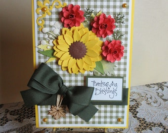 Handmade embellished sunflower Thanksgiving card
