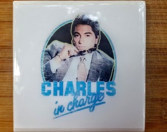 Single Tile Drink Coaster Charles in Charge Scott Baio 80s Television Drink Coaster