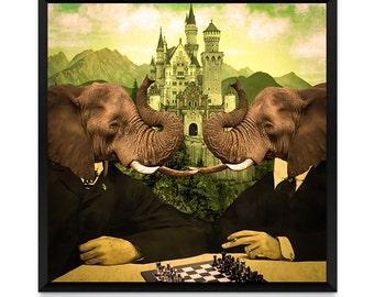 Art Print, Elephant Poster, Literary Art, Elephant Print, Dream Art Print, Animal Art Print