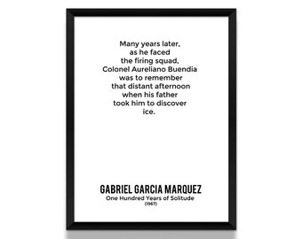 One Hundred Years of Solitude Opening Lines Poster, Gabriel Garcia Marquez Poster, Book Poster, Literature Poster