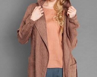 LINEN JACKET - JACKET for Spring, Summer, Autumn, Brown Linen Jacket, Women Gift