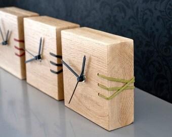 Green Wooden Clock, Desk Clock, Modern Clock, Wood Clock, Embroidered Clock, Unique Clock, Unique Clock, Gift for Men, Office Decor