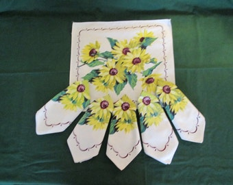 Vintage 1950's Yellow Daisy Napkins Set Of Six