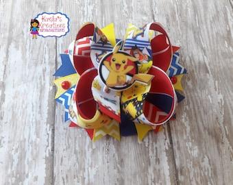 Pokemon Hair Bows,Pokemon Bows,Pikachu Hair Bows,Pikachu Bows,Pokemon Birthday,Pikachu,Pokemon Party,Pokemon