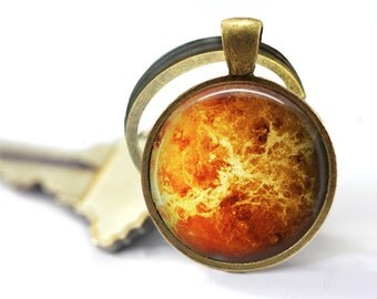 Galaxy key ring Planet Venus keychain Astronomy key fob