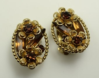 Weiss Gold Tone and Rhinestone Flower Clip Earrings