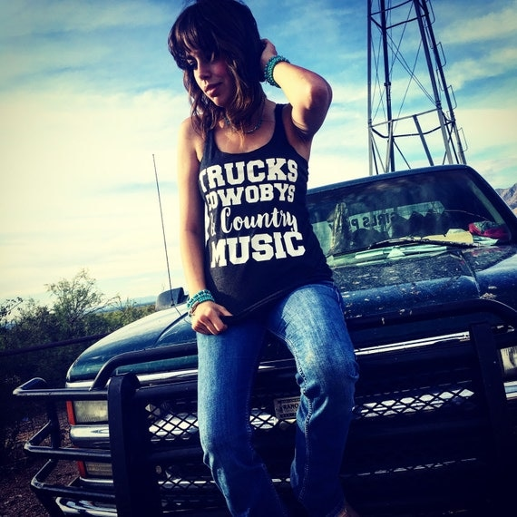 Trucks Cowboys & Country Music Relaxed Fit Tank Top, Country Tank Top, Workout Tank Top, Concert Tank Top