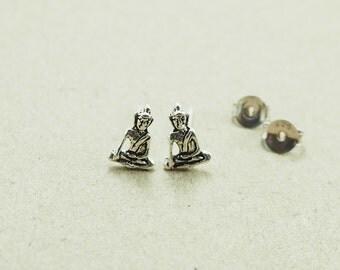 Tiny Buddha Stud, Buddha Earrings 925 Sterling Silver, Everyday Jewelry, Tiny Buddha Post earrings, Pierced - SB33