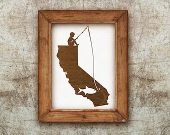 Silhouette of Boy Fishing on California Art Print, Wall Art