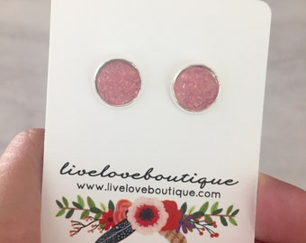 Pink Druzy Earrings 10mm