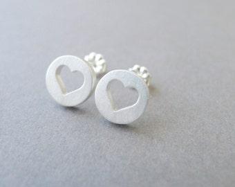 Sterling Silver Heart Studs Heart Earrings Heart Jewelry Simple Heart Mother's Day Gift Gift for Mom Girlfriend Wife Minimalist Studs