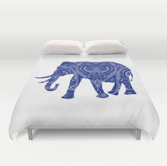 housse de couette d l phant mandala design bleu blanc inde. Black Bedroom Furniture Sets. Home Design Ideas