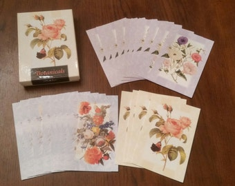 Vintage 90s Carlton Cards / Blank Cards / Floral Cards / Botanicals / Bontanical Cards / Roses / Rose Cards / Christmas in July / CIJ / Rare