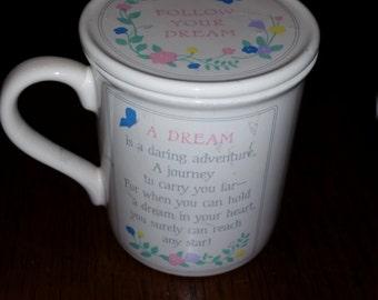 80s Vintage Hallmark Coffee Cup with Lid / Coffee Mug with Lid / Coffee Mug / Coffee Cup / Dream Mug / Dreamer / Dreams / Poetry Cup / CIJ