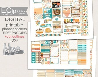 SALE November stickers,Thanksgiving stickers,Printable planner stickers,Weekly sticker kit for use in Erin Condren planner,fall  stickers