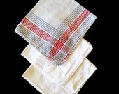 Vintage Mens Handkerchiefs. Three Hankies, Two White and One White / Red / Grey.