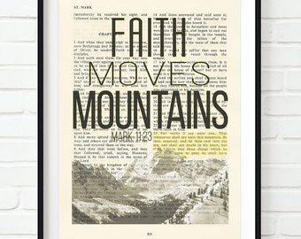 Vintage Bible page verse scripture Faith Moves Mountains Mark 11:23 ART PRINT, UNFRAMED, dictionary, Wedding gift, christian gift