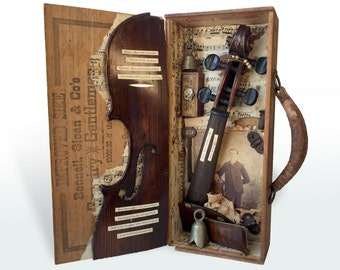 Vintage Assemblage Art with Poetry, Percy Shelley Assemblage Shadowbox, Found Object Art, Violin Assemblage Art