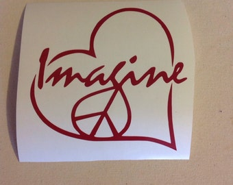 Imagine Peace Sign Heart - Vinyl Decal Sticker