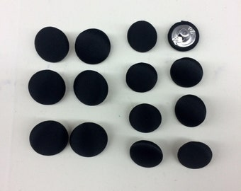 Black Or White tuxedo button set.Polyester Satin Cover Metal Shank./Price per 6pcs 17MM and 10pcs 14MM