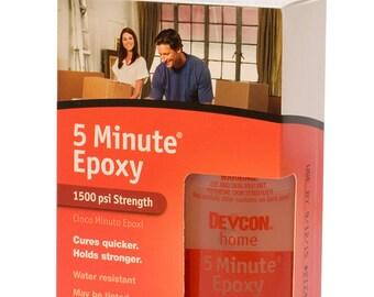Devcon Epoxy, 5 Minute Epoxy, 4-1/2 Ounce Bottles, 2 Bottles   GLU-720.90
