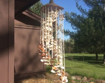 Vintage Seashell Hanging Wind Chimes | Natural Shells with Wicker Top | BOHO Bohemian Beach Decor | Seashell Windchime Mobile Chandelier