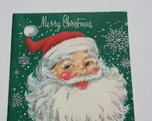 Vintage Unused Glitter Christmas Card, Jolly Santa Claus Face Christmas Card, 1950s 50s old Christmas Card