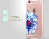 Blue Flower Crystal Clear iPhone SE Case iPhone 6s iPhone 6s Plus 5 5s 5c 4s iPad Mini Air Transparent Samsung Galaxy S6 S7 Silicone Case