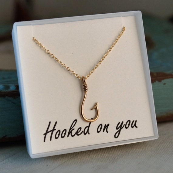 Hook Necklace - Fish Hook Pendant - Gold Filled Chain - Fishing Necklace - Hooked on you