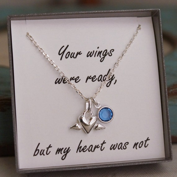 Mother of an Angel - Infant Loss - Miscarriage Remembrance Necklace - Memorial Necklace - Your wings were ready, but my heart was not