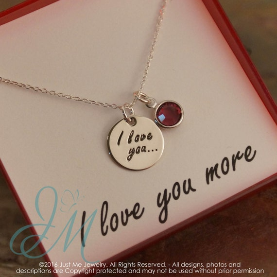 Valentine's Day gift - I love you necklace - Sterling Silver necklace with birthstone - Hand stamped
