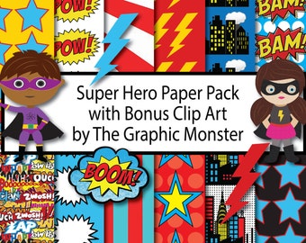 Super Hero Digital Paper, Super Hero Paper, Instant Download, Super Hero Scrapbook Paper, Super Hero Paper, Digital Scrapbook Super Hero